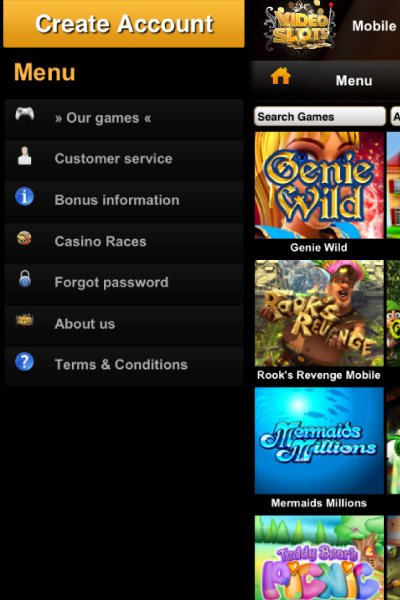 Video Slots Mobile Casino Menu