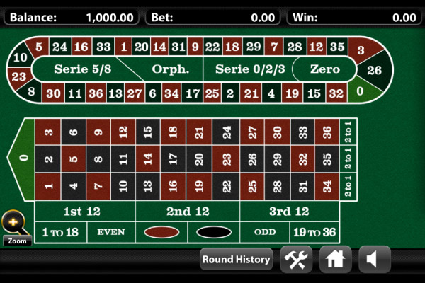 Example of an European Roulette Table on Mobile