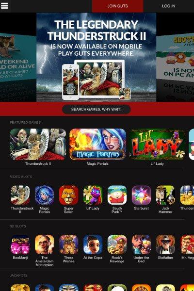 Guts Mobile Casino Lobby